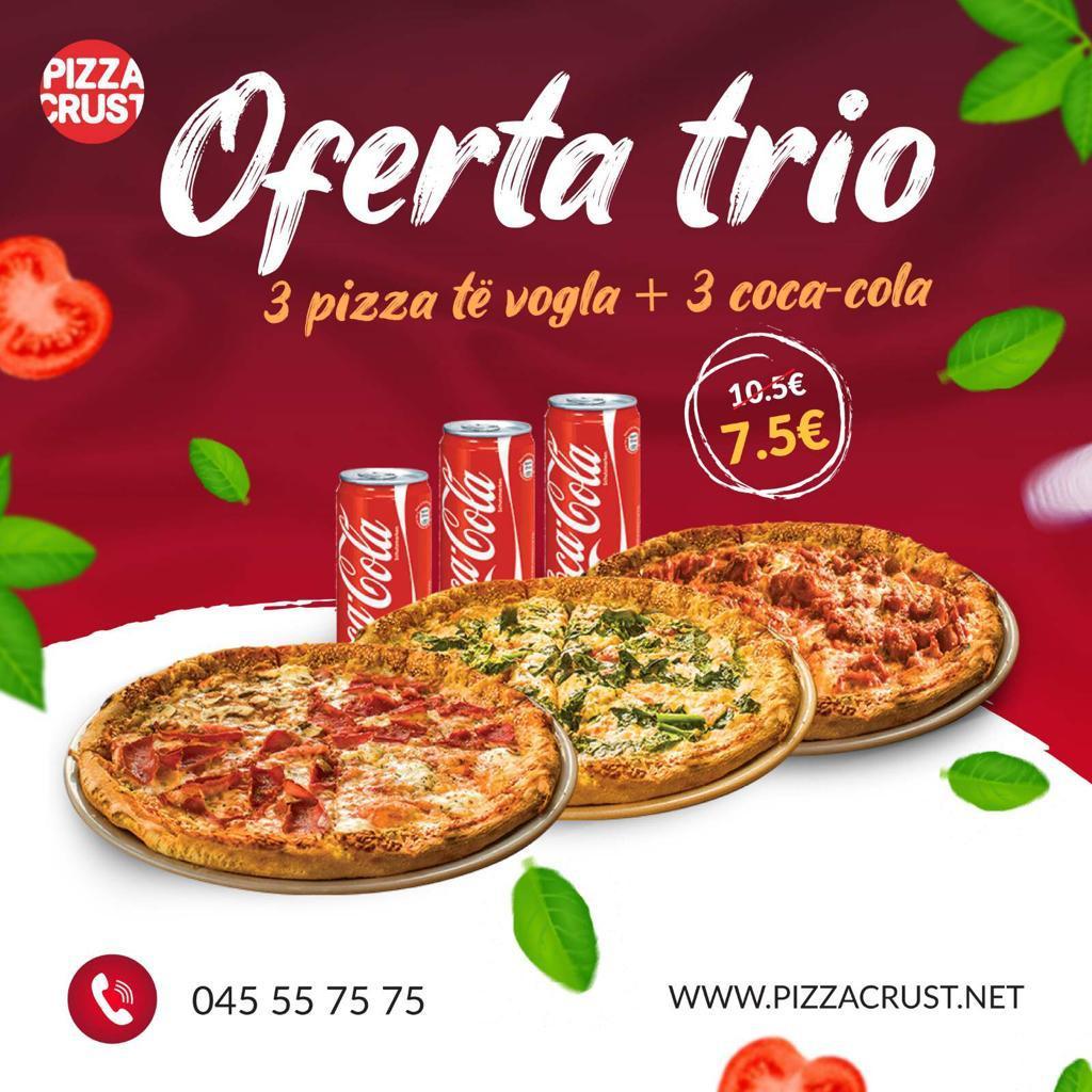 3 Pizza të vogla + 3 Coca Cola